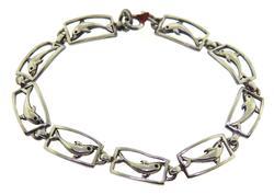 Vintage Sterling Silver Dolphin Line Bracelet