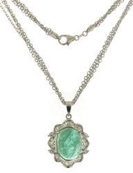Dynamic 18kt Oval Cab Emerald w Diamond Necklace
