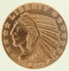 1929 5oz .999 Indian Head Round Copper
