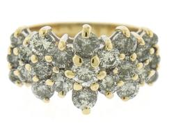 Fantastic Diamond Cluster Yellow Gold Ring