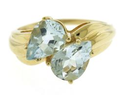Beautiful Pear Shaped Aquamarine Bypass Ring