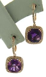 Pretty Amethyst w Pave Diamond Halo Rose Gold Earrings
