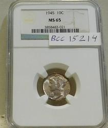 1945 Silver Mercury Dime  NGC MS-65  Full GEM