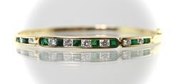 Simple and Wonderful 14K Emerald and Diamond Bangle