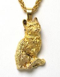 Detailed Cat Pendant & Chain in 14KT Yellow Gold