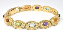 Multi-Gemstone Bracelet in 14KT Yellow Gold