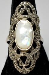 Gorgeous Mother of Pearl & Marcasites Ring, Sterling