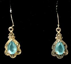 Gemstone Earrings with Marcasites & Chain in Sterling
