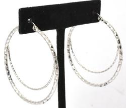Large Double Hoop Sterling Silver Earrings
