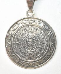 Mayan Calendar Pendant & Chain in Sterling Silver