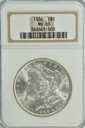 Creamy Gem BU 1886 Morgan Silver Dollar. NGC MS65