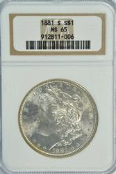 Super Gem BU 1881-S Morgan Silver Dollar. Old NGC MS65