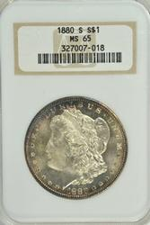 Super Gem BU 1880-S Morgan Silver Dollar. Old NGC MS65