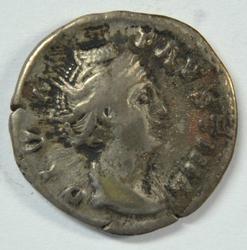 Roman Silver Denarius of Faustina, Sr. dies in 140 AD