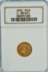 Very Choice BU 1926 $2.50 Indian Gold Piece. NGC MS62