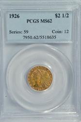 Very Choice BU 1926 $2.50 Indian Gold Piece. PCGS MS62
