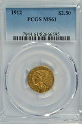 Better date 1912 BU $2.50 Indian Gold Piece. PCGS MS61