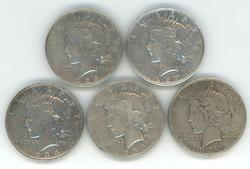 5 Better date Peace Silver Dollars 1926-S to 1935-S