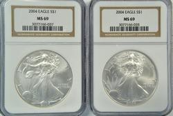 2 Better 2004 $1 American Silver Eagle coins. NGC MS69