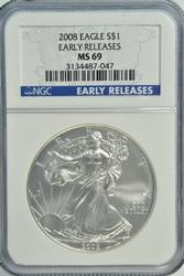 Special 2008 Early Releases $1 Silver Eagle. NGC MS69