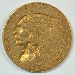 Real sharp 1927 US $2.50 Indian Gold Piece