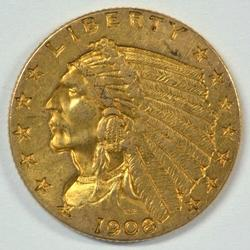 Splendid 1908 US $2.50 Indian Gold Piece