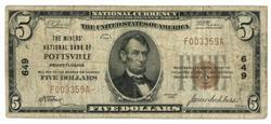 1929 Series $5 National of Pottsville, PA (649)