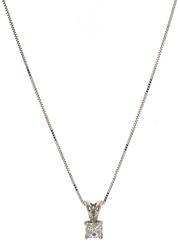 Stunning Princess Cut Diamond Solitaire Necklace