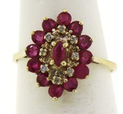 Stunning Yellow Gold Ruby and Diamond Accent Ring
