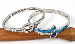 Attractive Pair of Hinged Bangles in .925 Silver
