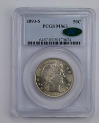 MS63 1893-S CAC Barber Half Dollar - Graded PCGS