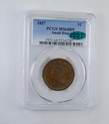 MS64 BN 1857 CAC Braided Hair Large Cent - Small Date - Graded PCGS