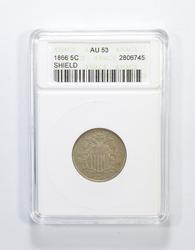 AU53 1866 Shield Nickel - Graded ANACS