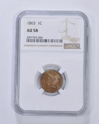 AU58 1863 Indian Head Cent - Graded NGC