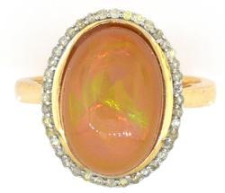 Elegant Opal & Diamond Ring in Sterling Silver
