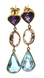 Amazing Yellow Gold Multi Gemstone Dangle Earrings