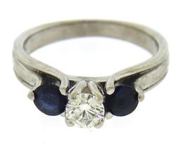Shocking RBC Diamond Center w Sapphire Sides Ring