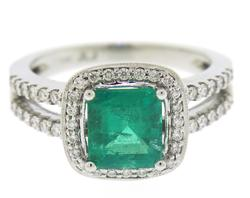 Lustrous White Gold Emerald and Diamond Ring