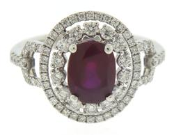 Shining White Gold Oval Cut Red Spinel & Diamond Ring
