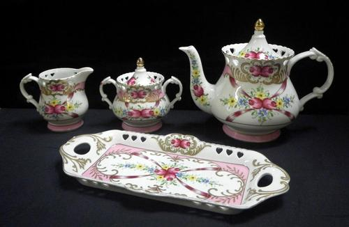 Tray, Sugar Creamer and Tea Pot 4 pcs