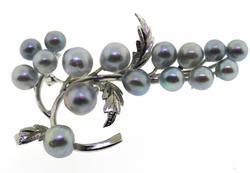 Vintage Sterling Silver Grape Leaves Pin Brooch.