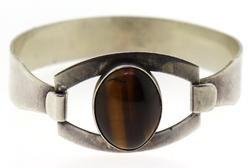 Vintage Sterling Silver Cuff Bracelet with Tiger Eye