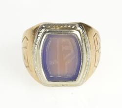 14K Yellow Gold Art Deco Etched Blue Chalcedony Monogram Ring