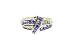 10K White Gold Wavy Syn. Sapphire Diamond Bypass Statement Ring