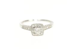 10K White Gold 0.50 Ctw Princess Diamond Ornate Engagement Ring