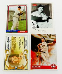 4 Ted Williams Baseball Cards