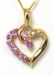 14KT Pink Topaz Heart Pendant & Chain