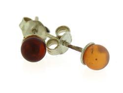 Vintage Sterling Silver Amber Stud Earrings