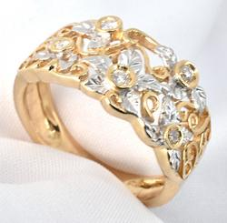Artistic Floral Band with Diamonds