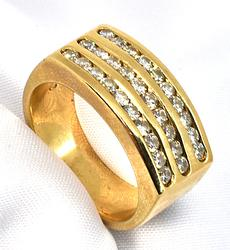 Ring with 3 Rows of Channel Set Diamonds